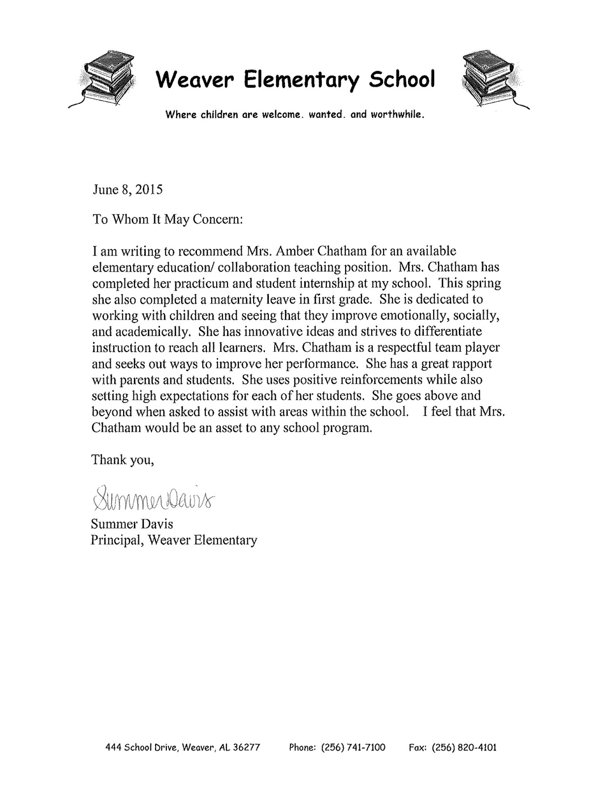 letter of recommendation kay adams collaborative teacher grade 4 6