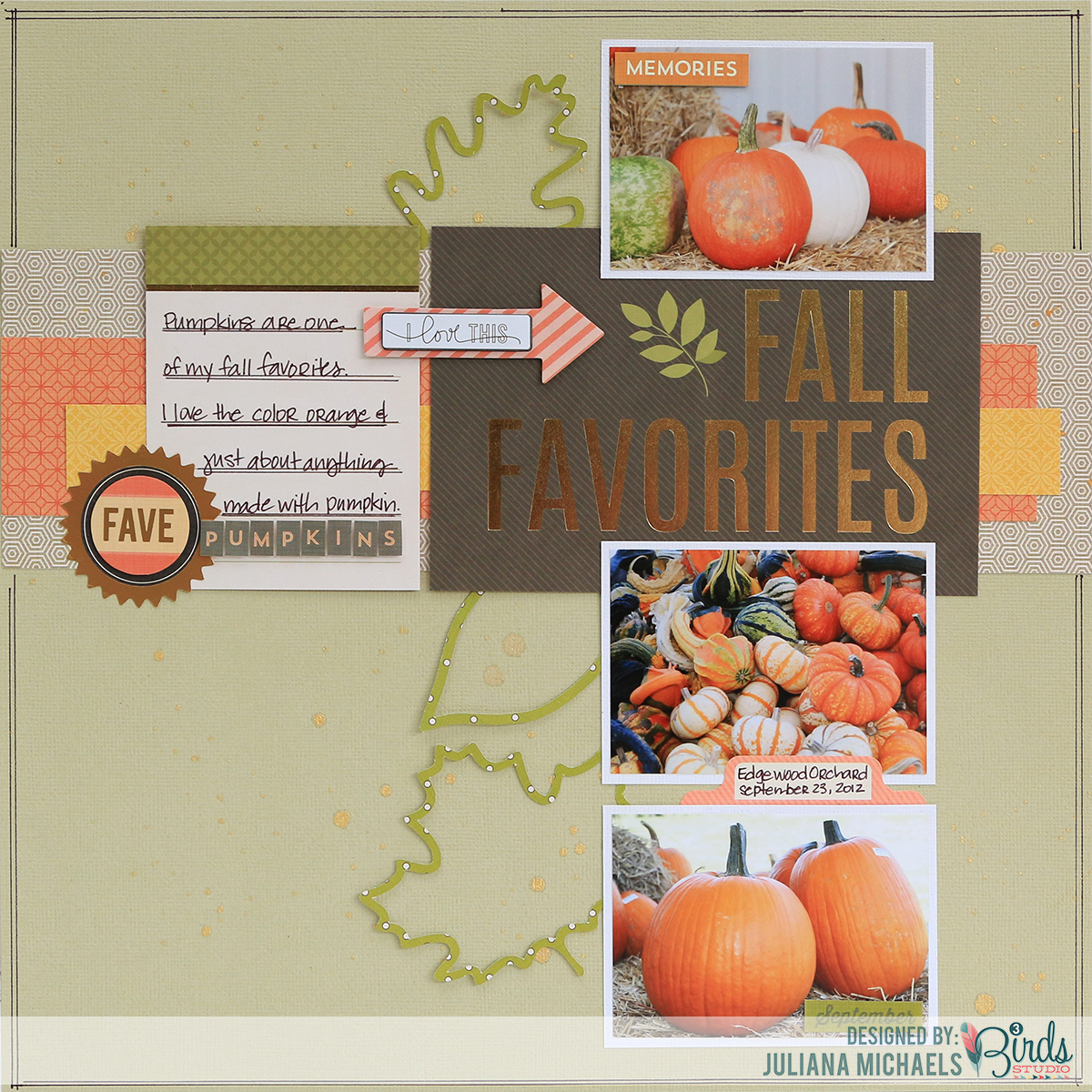 Fall Favorites Scrapbook Page by Juliana Michaels Leaves & Acorn Digital Cut File 17turtles.com featuring 3 Birds Design