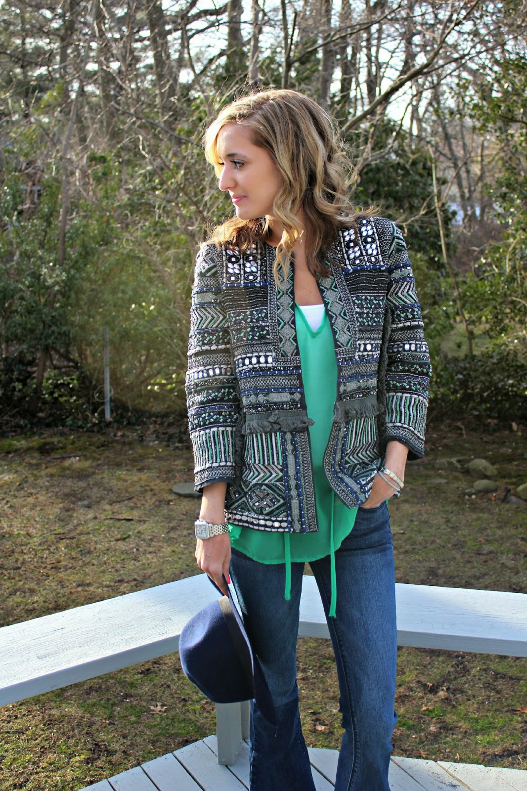 green and blue beaded jacket