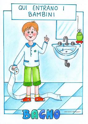 Maestra nella cartelloni per la porta del bagno - Bagno per bambini ...