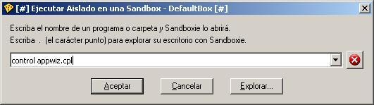 Abrir panel de control en Sandboxie. control appwix.cpl