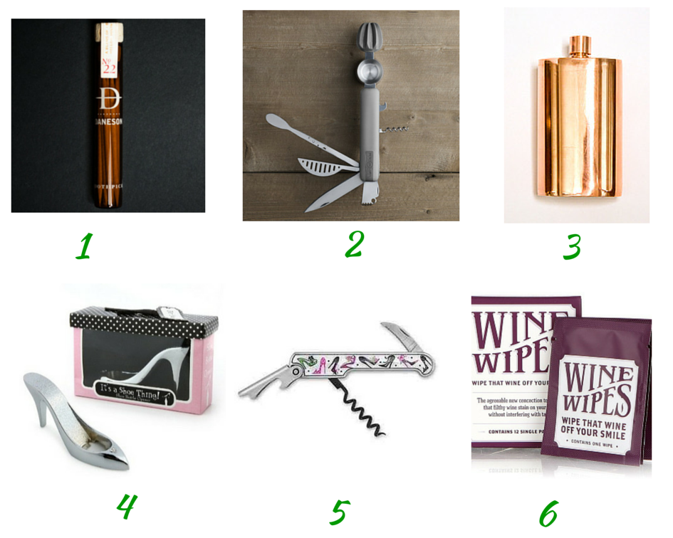 Bourbon Toothpicks, bar10der tool, copper flask, Shoe corkscrew, shoe bottle opener, wine wipes