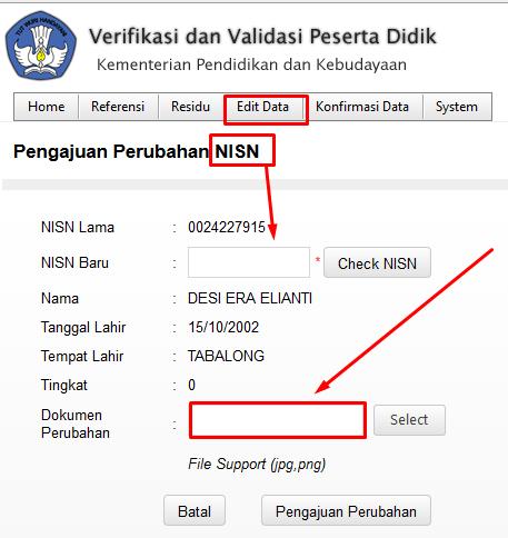 Cara/Solusi NISN di Ijazah Berbeda Dengan Hasil Verval PD