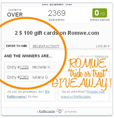 Romwe giveaway winners on Fashion and Cookies