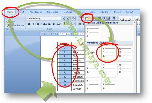 Gambar: Cara membuat nomor urut otomatis memanfaatkan fasilitas numbering di tabel Microsoft Word