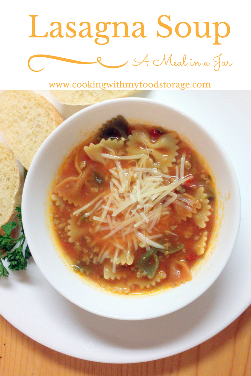 Cooking with my food storage meal in a jar lasagna soup meal in a jar lasagna soup forumfinder Choice Image
