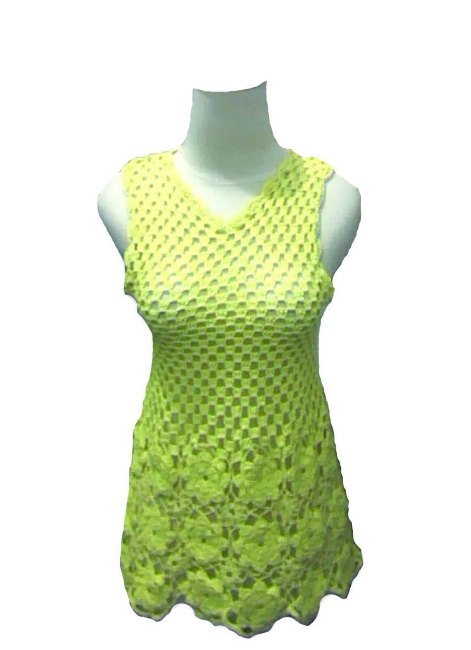 Model Baju Rajut  LenganPendek Warna Lime