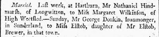A newspaper cutting stating that on Sunday Mr George Donkin, Ironmonger married Miss Elstob, daughter of Mr Elstob, Brewer.
