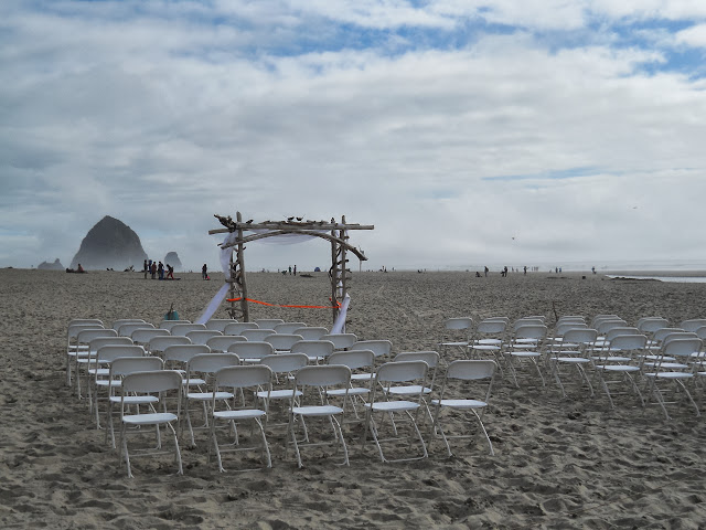 wedding setup at Cannon Beach