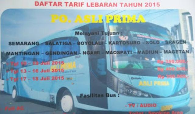 Harga Tiket Bus Asli Prima Lebaran 2015