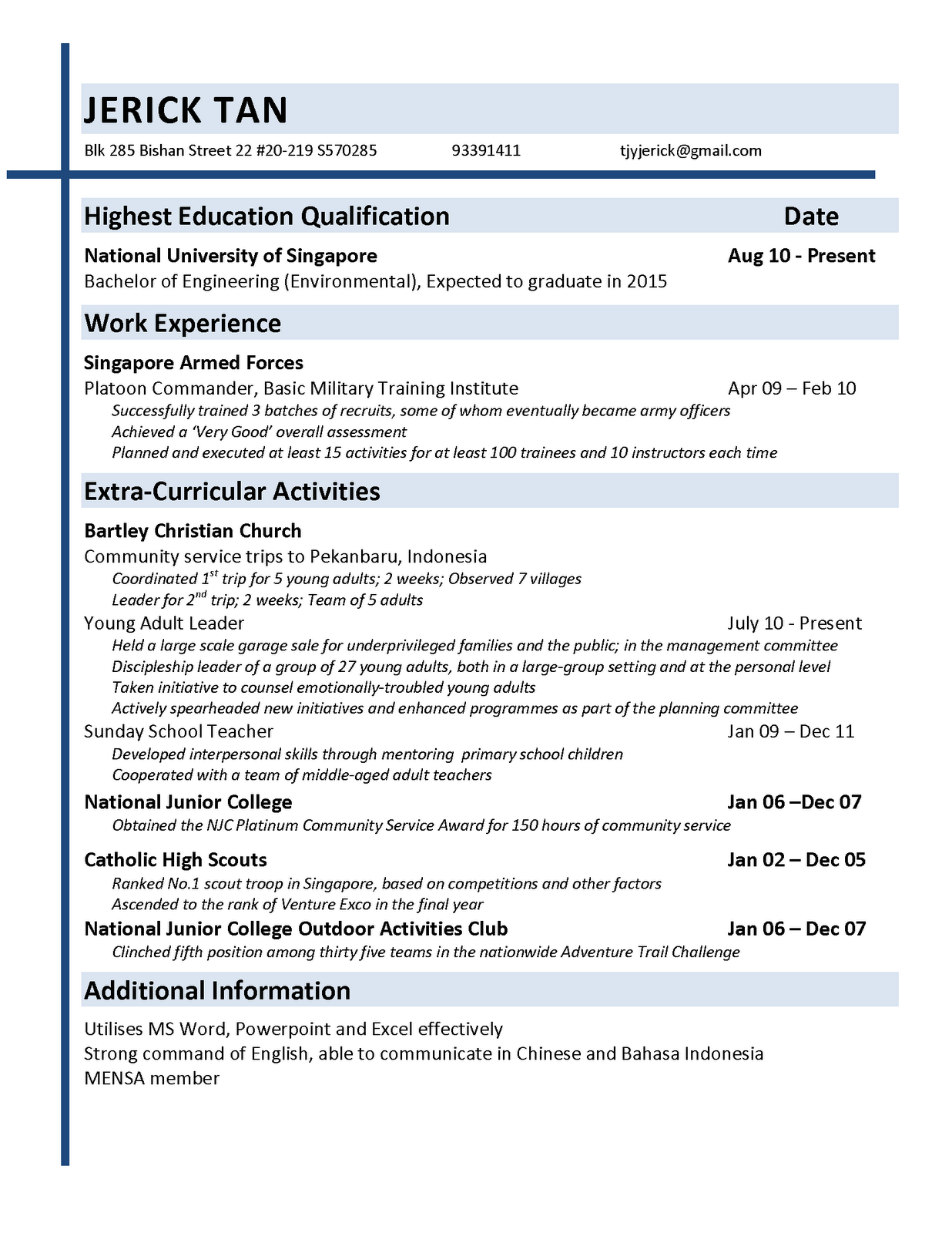 draft resume sample