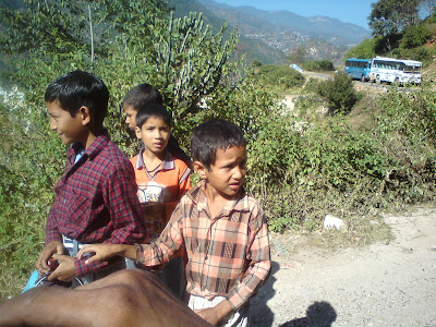 Kids headed toward the fields for work in the Himalayas