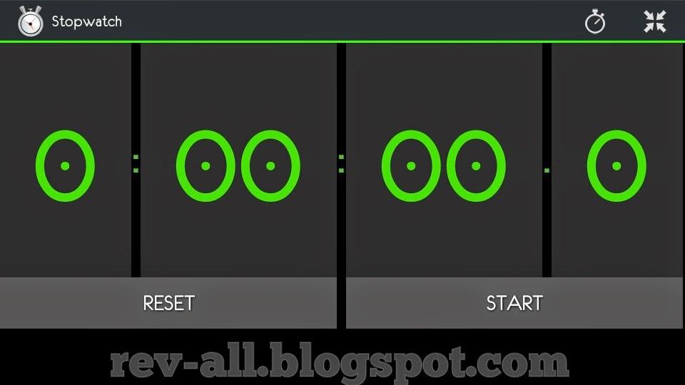 Tampilan landscape aplikasi StopWatch & Timer untuk Android (rev-all.blogspot.com)