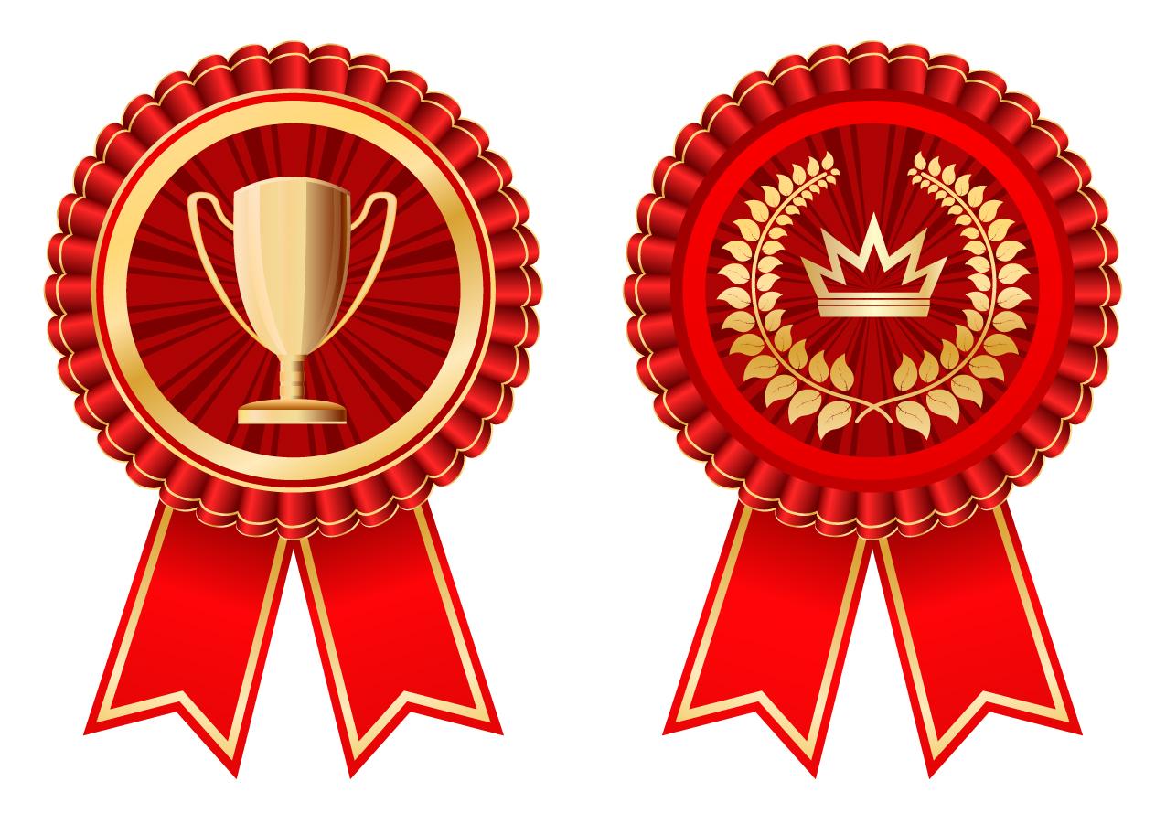 優勝メダルと保証バッジ Gold decorative badge medal vector イラスト素材1