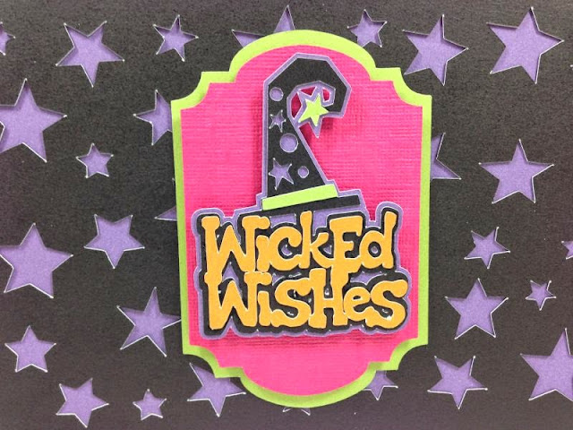 Cricut Artfully Sent Cricut cartridge Wicked Wishes card closeup