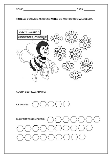 Atividades com Vogais - Pinte as vogais