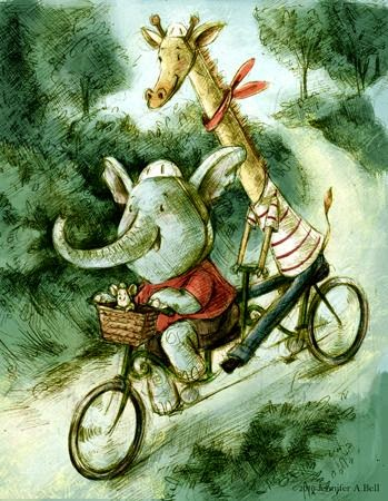 giraffe and elephant riding a tendem bicycle  illustration by Jennifer A.Bell