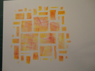 Stencilled image - squares in autumnal colours