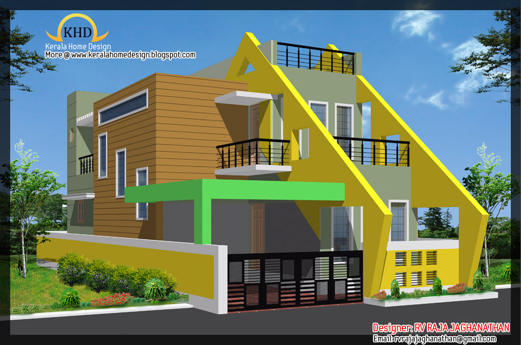 House plan and elevation kerala home design and floor plans for Indian house front elevation photos for single house