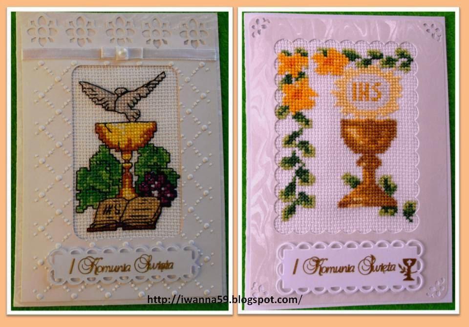 haftowane kartki komunijne