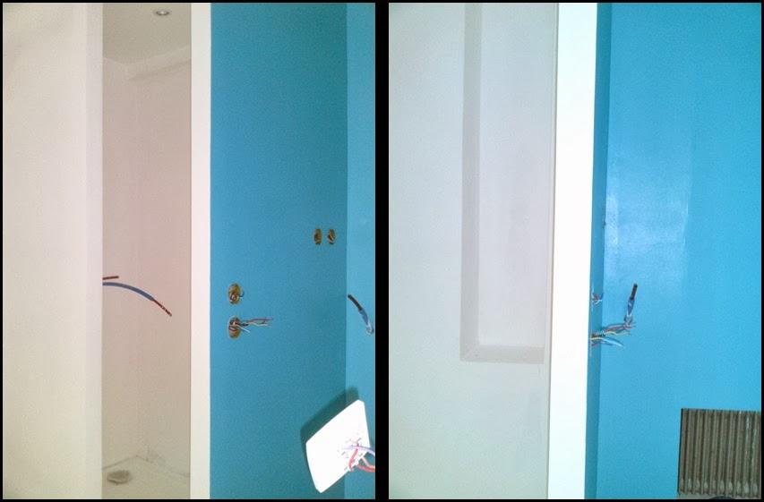 Lcch salle de bain pose de double vasques sur plaque de - Creation douche italienne ...