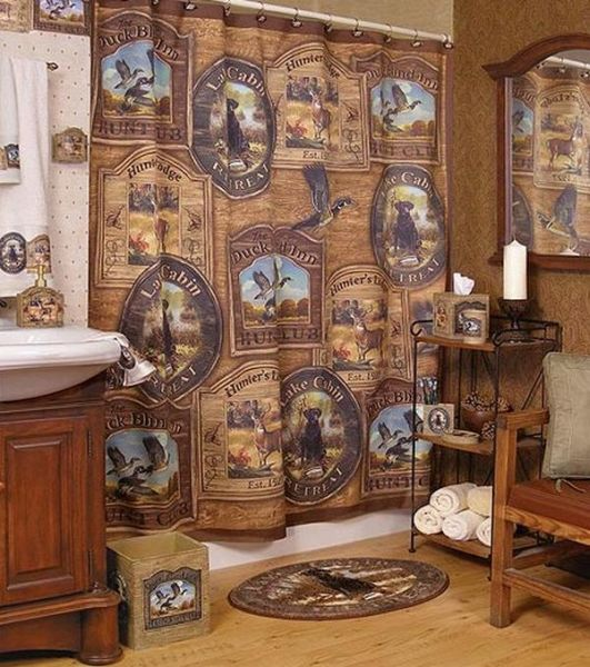 Cortinas De Baño Originales:Hunting Lodge Bathroom Decor