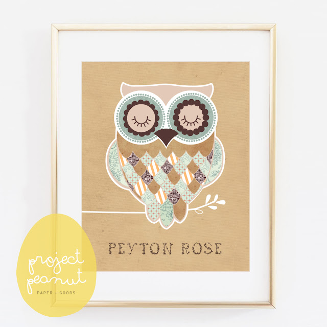 Personalised Child's Name Vintage Owl Printable, Wall Art Wall Decor for Kid's Nursery or Playroom   projectpeanut.com.au
