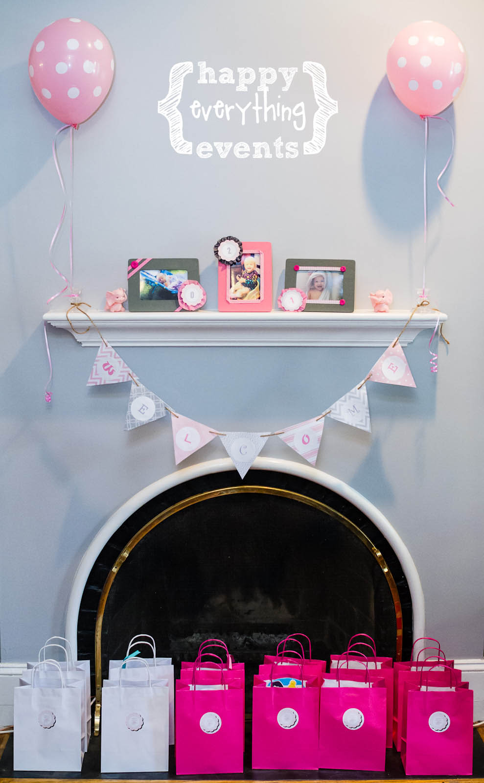 happy everything pink grey elephant birthday
