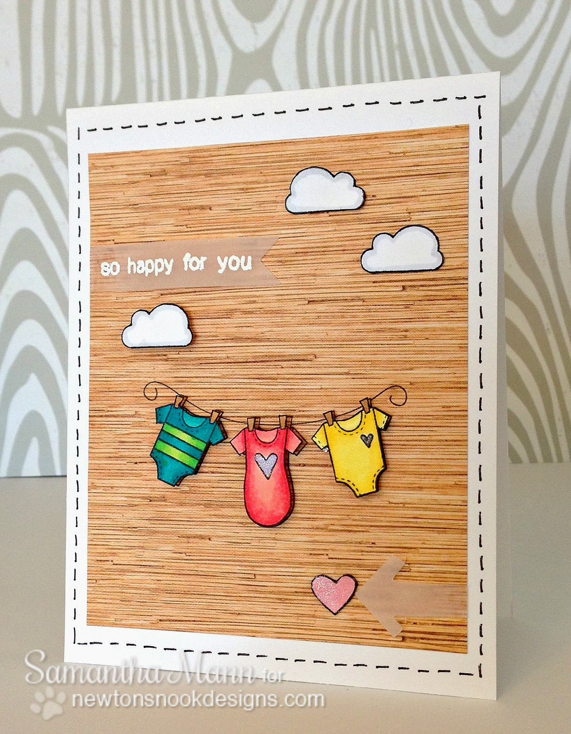 Baby Card by Samantha Mann using Winged Wishes Stamp set by Newton's Nook Designs