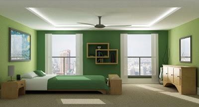 habitación con paredes verdes
