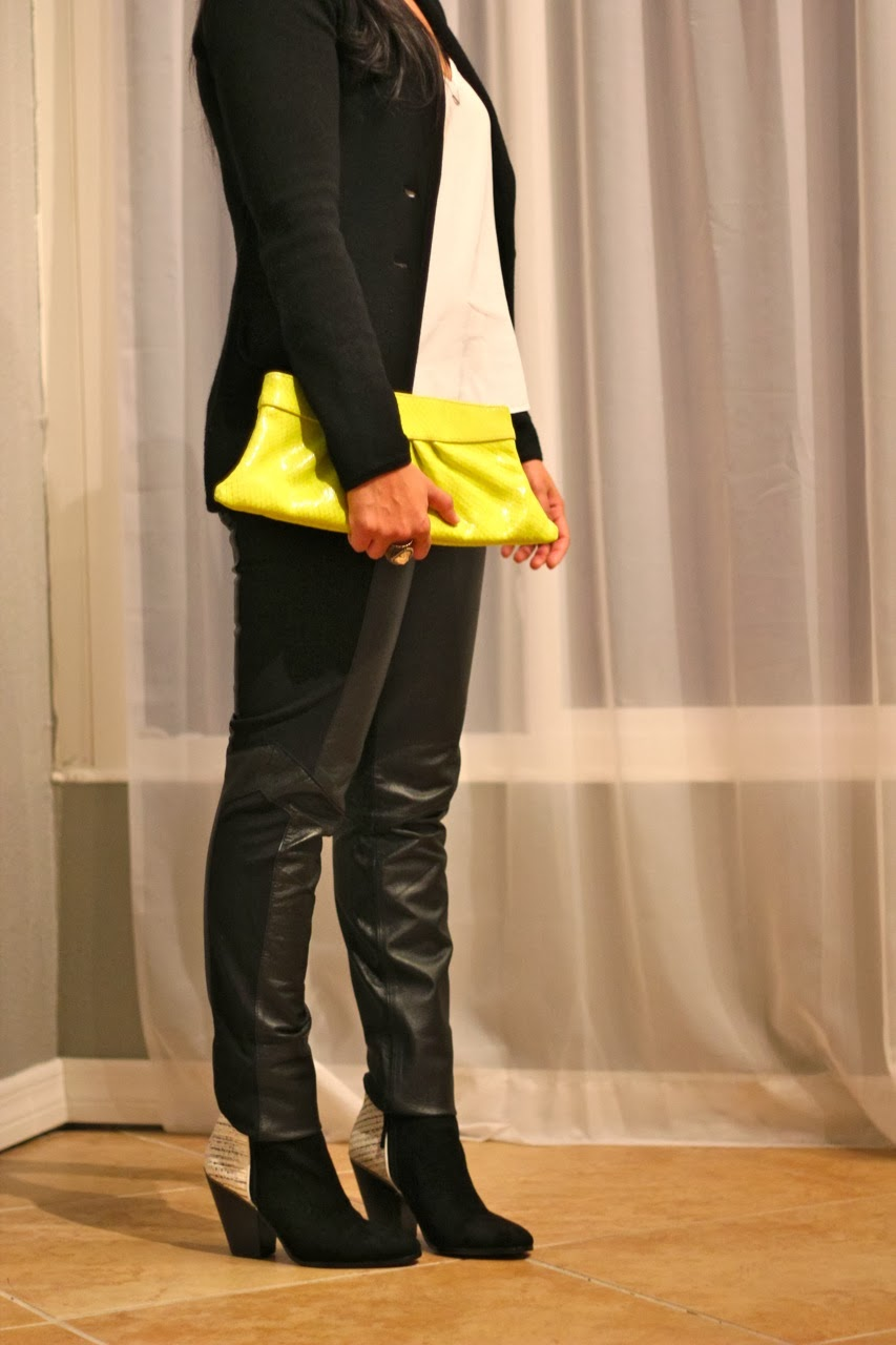 leather panel pants bb dakota contrast ankle boots dolce vita lauren merkin neon clutch