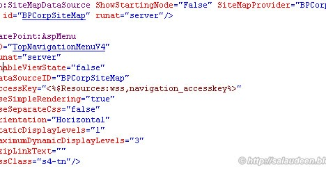 consistent top navigation menu across all site collections in