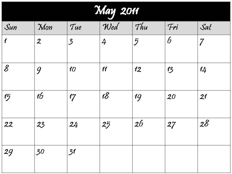 may calendar 2011 blank. may calendar 2011 blank.