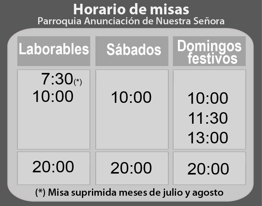 horario de misas de madrid: