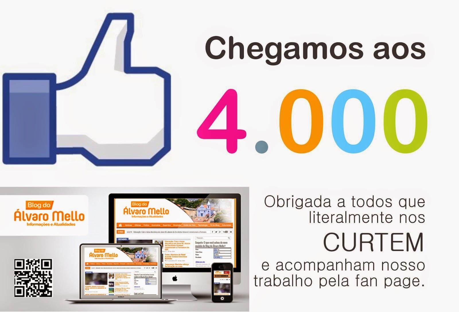 Ultrapassamos mais de 4 mil curtidas em nossa fan page obrigado a todos