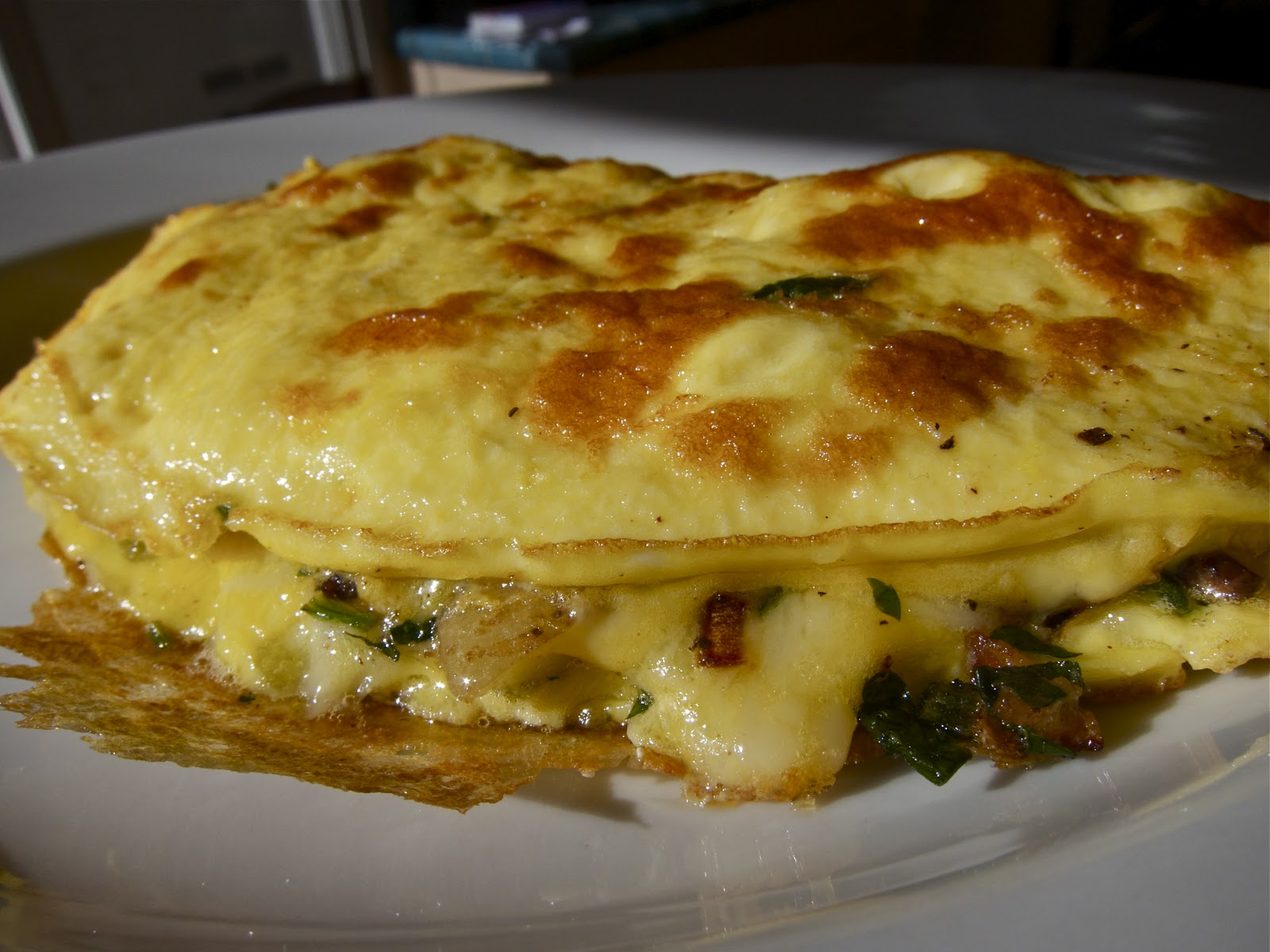 ... everything easier and a nice crust forms on the outside of the omelet