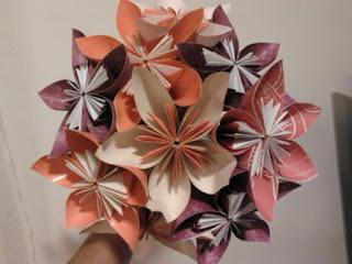 buque de noiva de origami