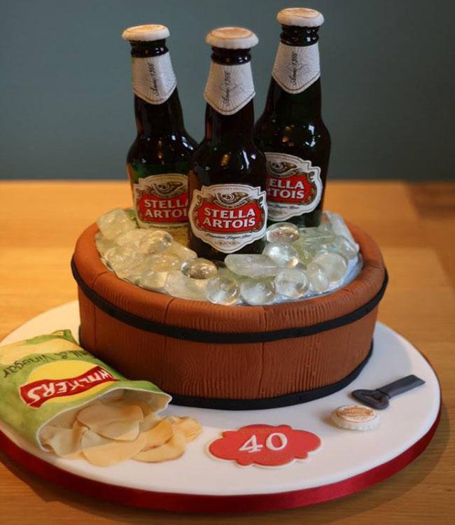 Ảnh bánh sinh nhật hình chai bia đáng yêu nhất