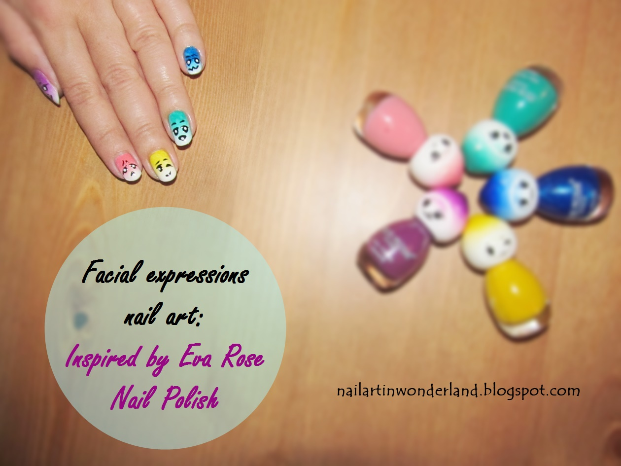 Yüz ifadeleri / Facial expressions nail art: Inspired by Eva Rose Paris Nail Polish