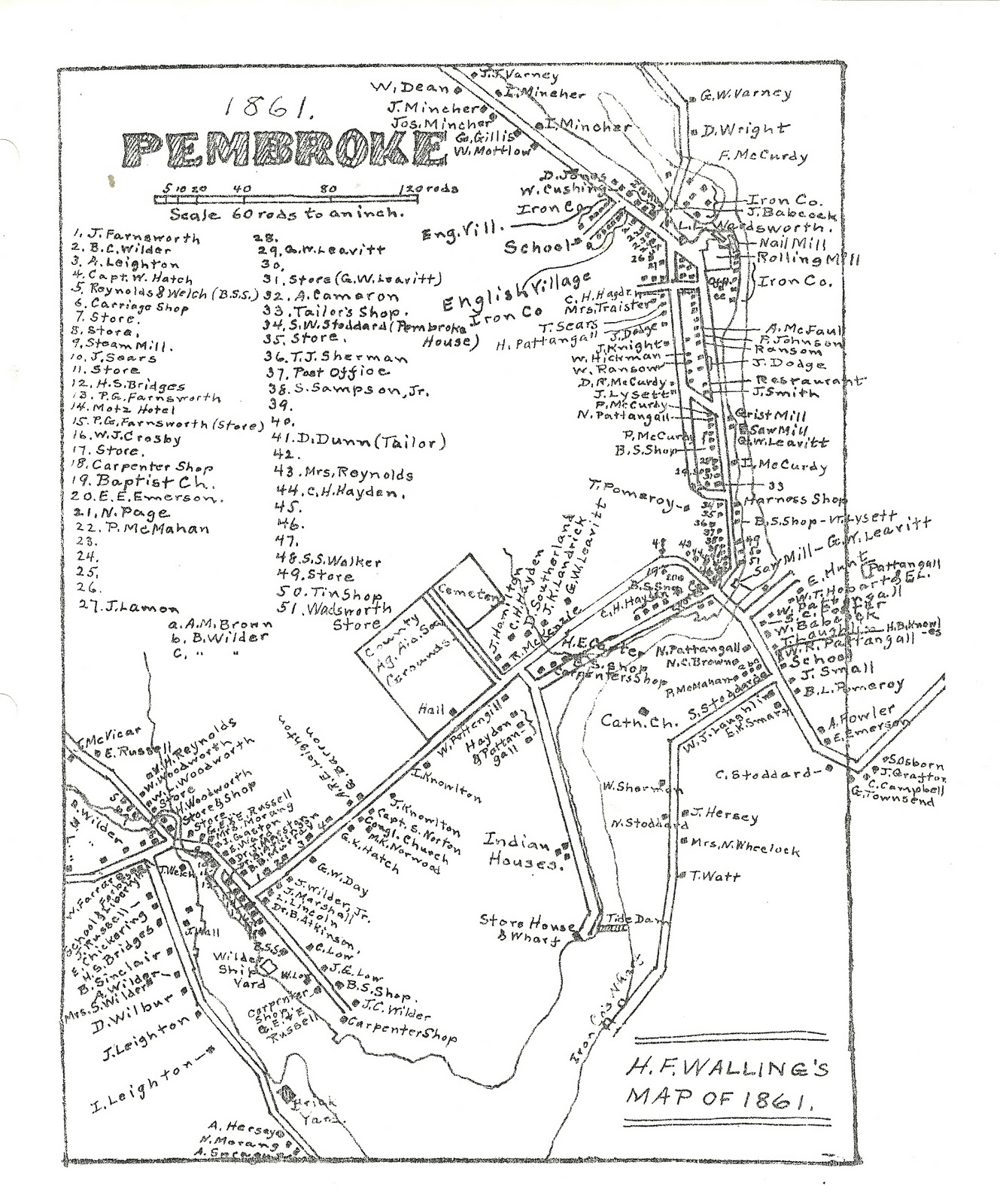Heirlooms Reunited: 1861 map of the Village of Pembroke, Maine