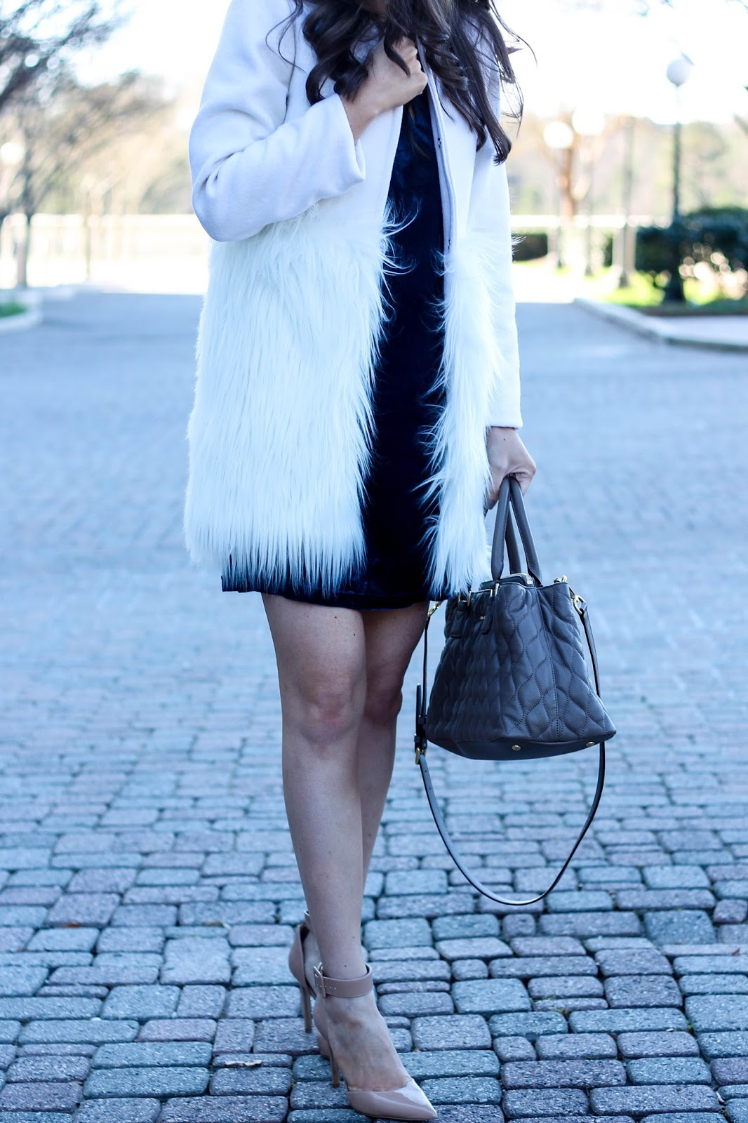 Velvet Navy Shift Dress, Velvet Dress, Blue velvet, White Faux Fur Coat, Chicwish White Faux Fur Coat, Fashion Blogger, Winter Style, Winter Trends, Pretty in the Pines, Cute Winter Outfit Idea, Nude Ankle Strap Pumps
