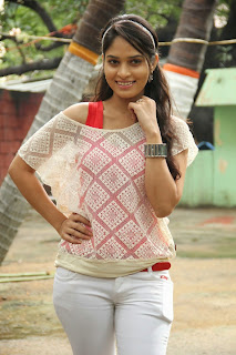 Sanyatara in Lovely White Denim Jeans and Red Tank Top Sizzling Pics