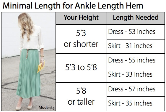 Guide for modest skirt and dress hem length | Mode-sty tznius orthodox jewish muslim hijab mormon lds pentecostal islamic evangelical christian