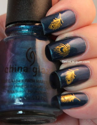 Gold peacock water decals