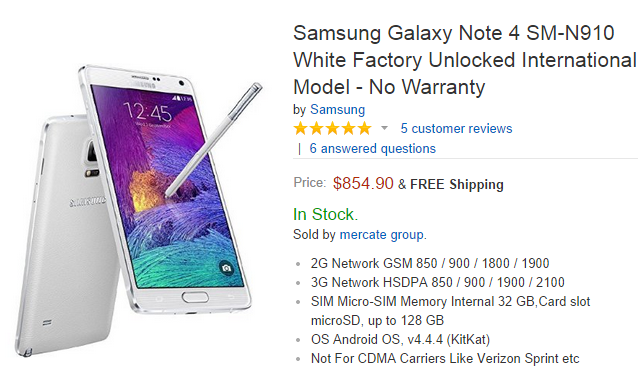Price of contract free Samsung Galaxy Note 4