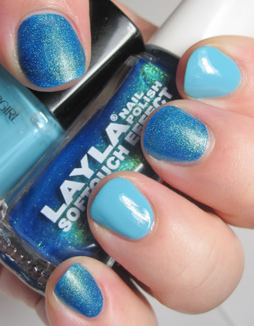 Layla Softtouch 10, a mermaid-type blue with gold shimmer, and Cover Girl Blue Hawaiian, a light blue creme
