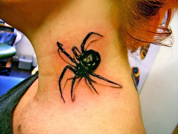 Spider on the neck 3D awesome tattoo!