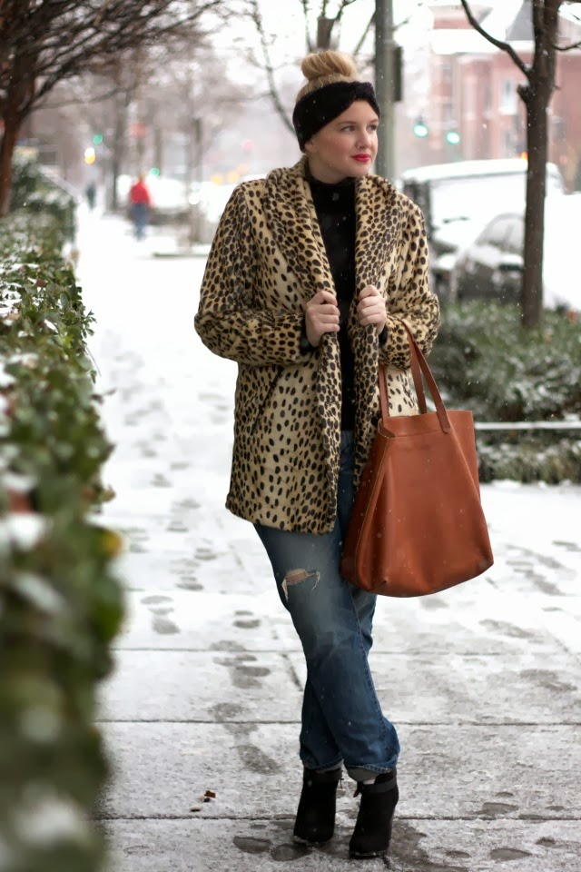 asos leopard print coat, madewell transporter, gap boyfriend, rag and bone booties, forever 21 booties