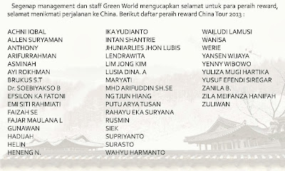 Green World Indonesia - Peraih reward China Tour 2013