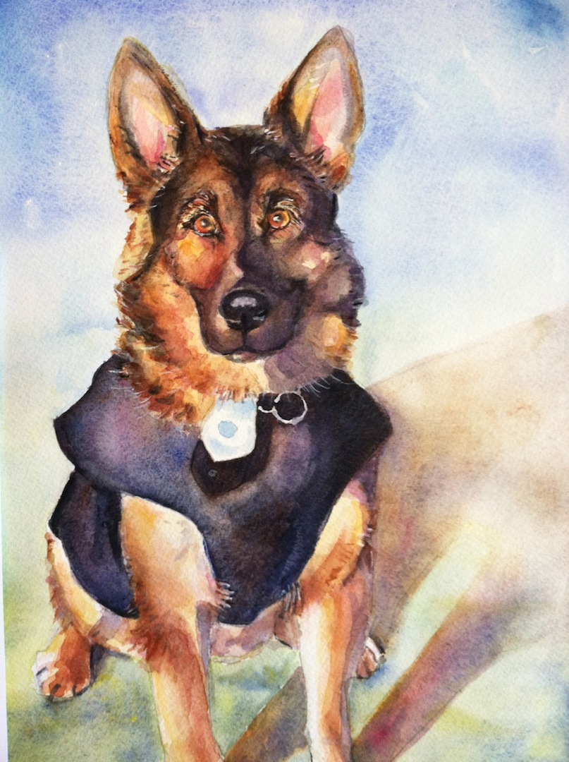 German shepherd painting jpg